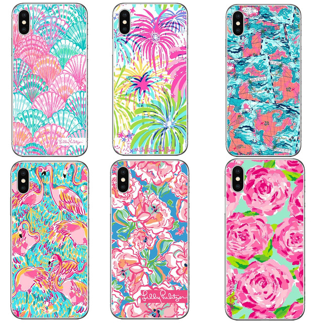 low priced 94db7 d2ced US $1.55 40% OFF|Lilly Pulitzer Summer flower Pink Banana leaf Hard PC  Phone Cases Cover For iPhone 5 5S SE 6 6S Plus 7 XS Max XR 8 8 Plus X 10-in  ...