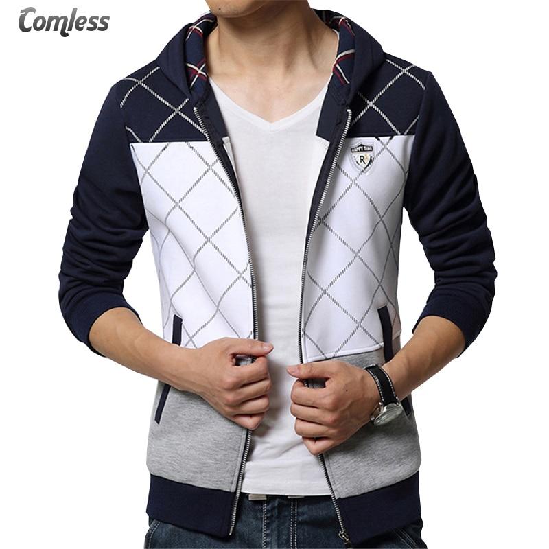 New 2017 Spring Autumn Mens Casual Slim Fit Hooded Hoodies Sweatshirt Sportswear Male Patchwork Fleece Jacket Plus Size 4XL 5XL