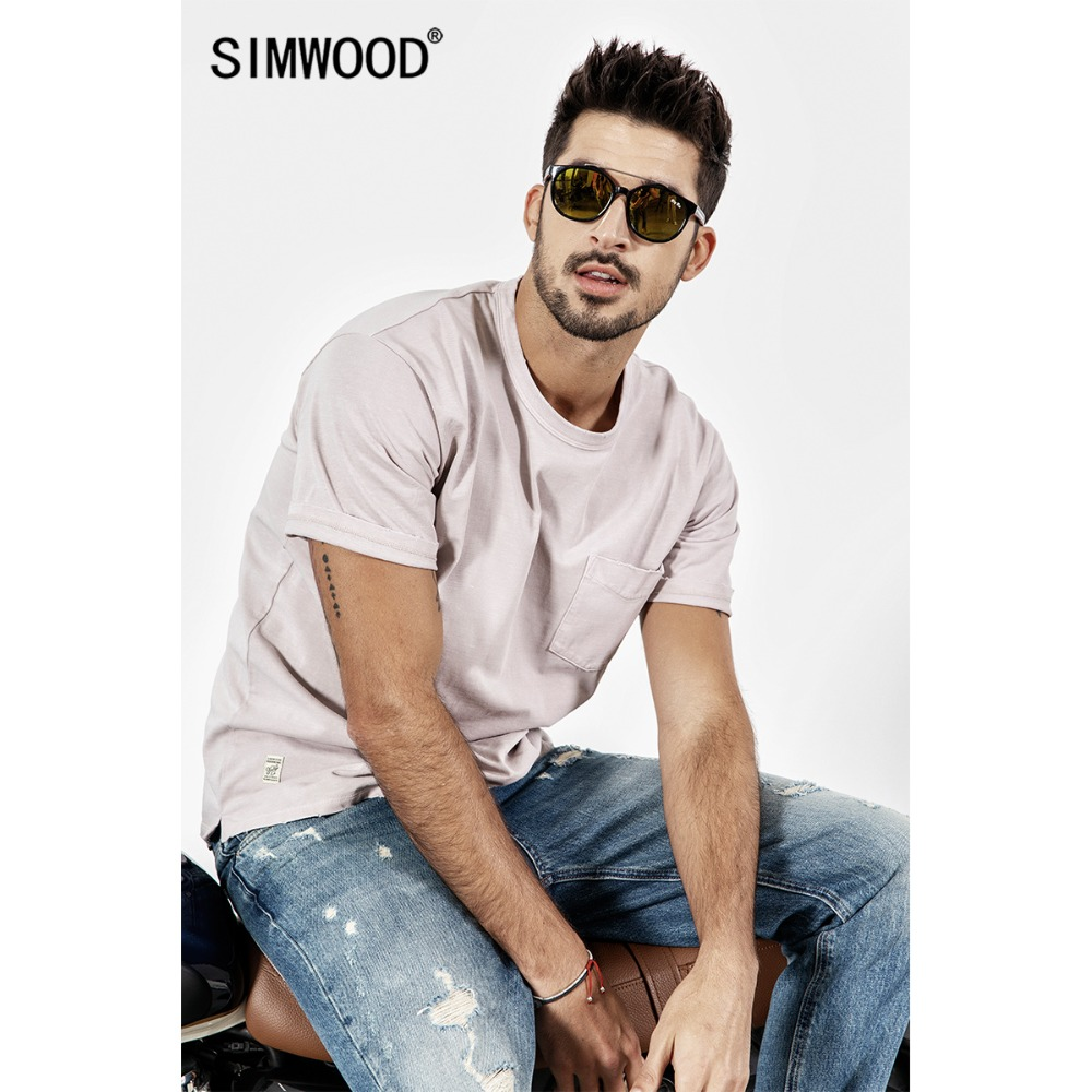 SIMWOOD 2019 New Summer t shirt Men Short Sleeve O-Neck Print T-shirt Casual Tops Vintage Broken Brand Tees Male camiseta 190071