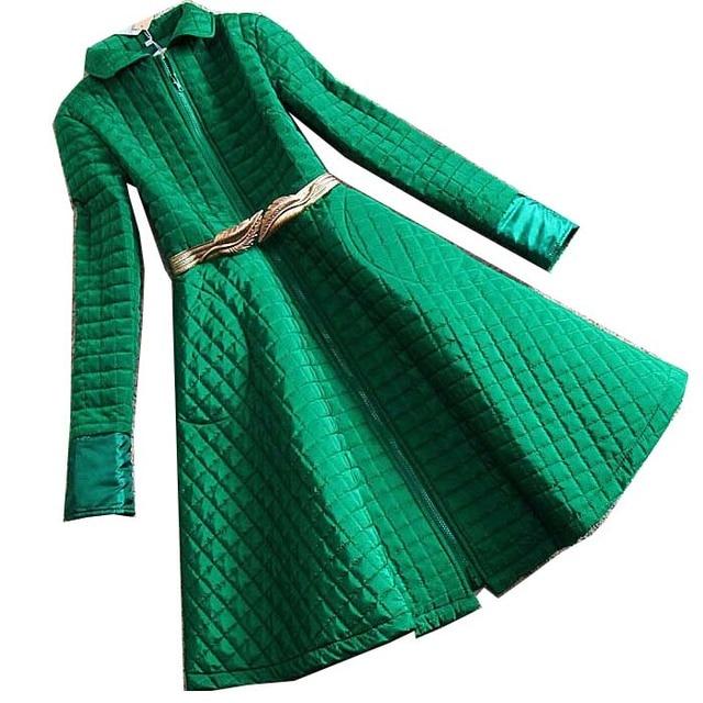 2016 дамы знатных тиснением цимозных большой юбка женщин зимний верхней одежды ватные куртки длинная женская хлопка-ватник