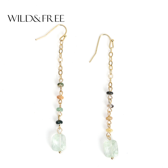 Women Natural Stone Beads Drop Earrings Delicate Gold Link Chain Long Dangle Jewelry For