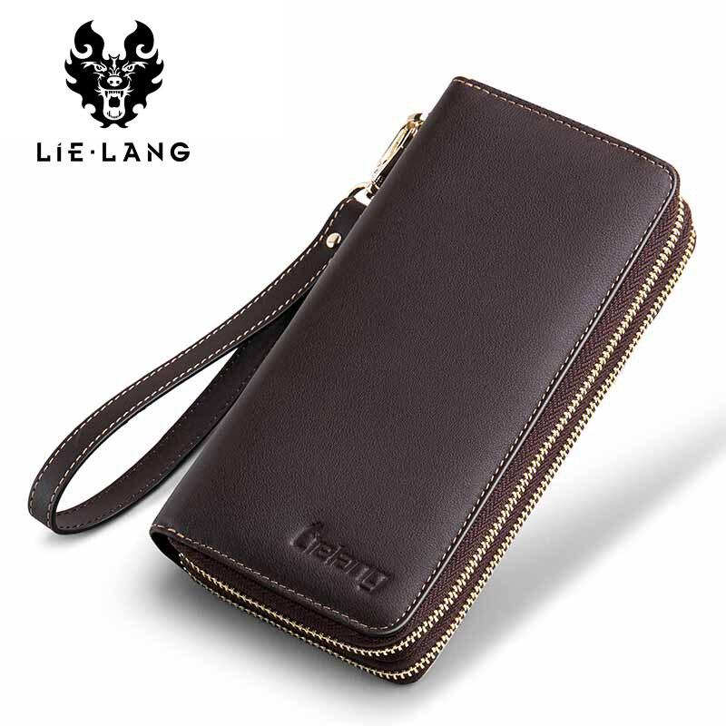 LIELANG Wallet Clutch Coin-Purse Portfolio Zipper Genuine-Leather Fashion Men Long