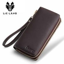 LIELANG гаманець натуральна шкіра для чоловіків довгий гаманець кліп Walet мода блискавка багатофункціональна клатч портфоліо монета гаманець