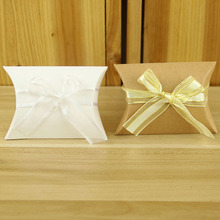 10pcs New  Present Pouch Kraft Paper Pillow Candy Box Wedding Favors Gift Boxes Home Party Birthday Supply