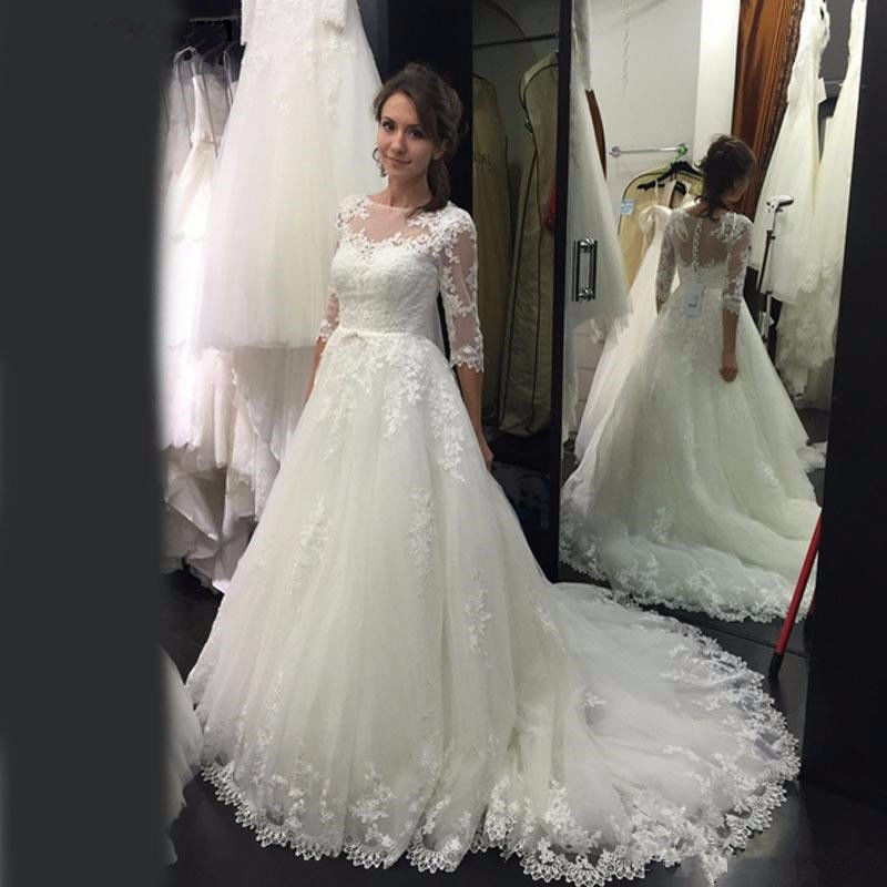 Half Sleeves Vestido De Noiva 2019 Muslim Wedding Dresses A-line Tulle Lace Appliques Boho Dubai Arabic Wedding Gown Bridal