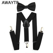 2019 Suspenders and Bow Tie Set Braces Elastic Y-back for Children Kids Red Pink Black Blue Boys Girls Suspenders and Bow Tie