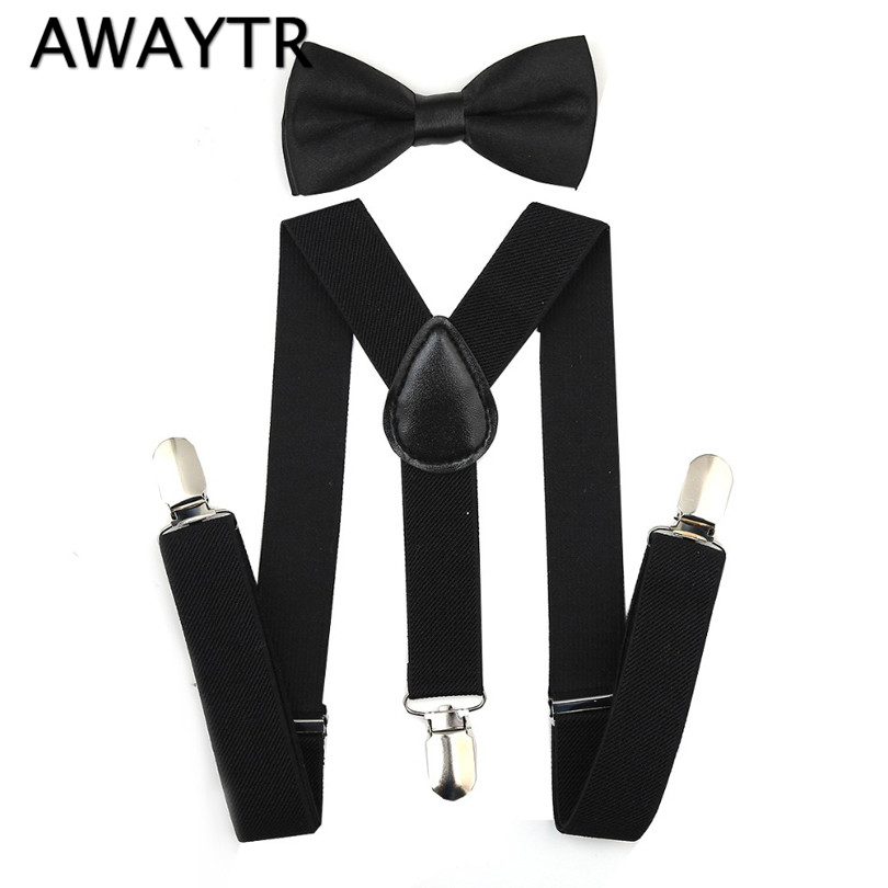 2019 Suspenders and Bow Tie Set Braces Elastic Y-back for Fëmijët Fëmijët Red Pink Pink Black Black Girls Girls Suspenders and Bow Tie