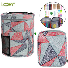 Looen Crochet Hook Set With Empty Yarn Storage Bag Geometric Patterns Knitting DIY Needle Arts Craft Sewing Tools Case