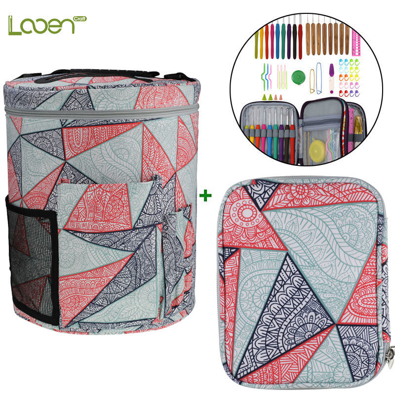 Looen Crochet Hook Set With Empty Yarn Storage Bag Geometric Patterns Knitting Bag DIY Needle Arts Craft Sewing Tools With Case