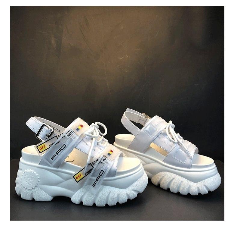 HTB1v EzOFYqK1RjSZLeq6zXppXaM 2019 Summer Chunky Sandals Women 8cm Wedge High Heels Shoes Female Buckle Platform Leather Casual Summer Slippers Woman Sandal