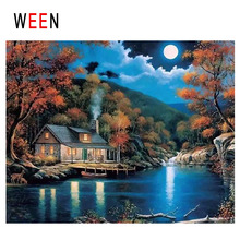 WEEN Night Cabin Diy Painting By Numbers Abstract Moon Lake Oil On Canvas Forest Cuadros Decoracion Acrylic Home Decor