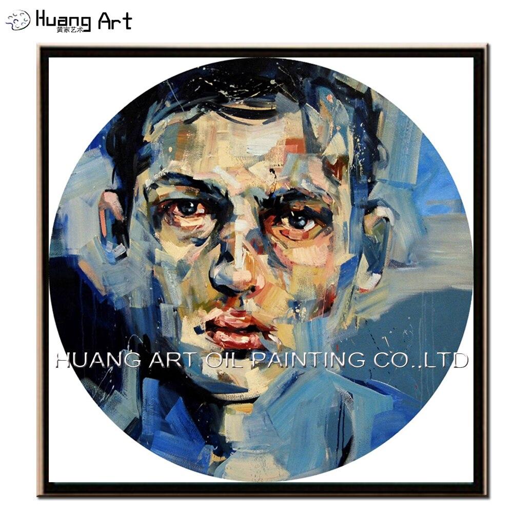 Ručně vyráběné vysoce kvalitní moderní Andrew Salgado kruhové olejomalba na plátně domů nebo hotelu dekor umění abstraktní muž malování na obličej