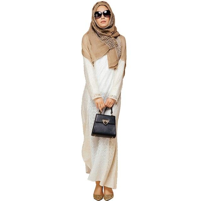 Babalet Elegante Modesto Musulmán Islámico de Dubai Abaya de Encaje ...