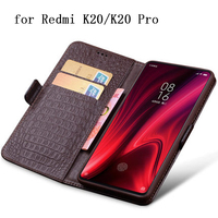 Redmi K20 Case Genuine Leather Flip Wallet Case for Xiaomi Redmi k20 Pro Free Screen Protector Cover Hongmi K20 with Card Slots