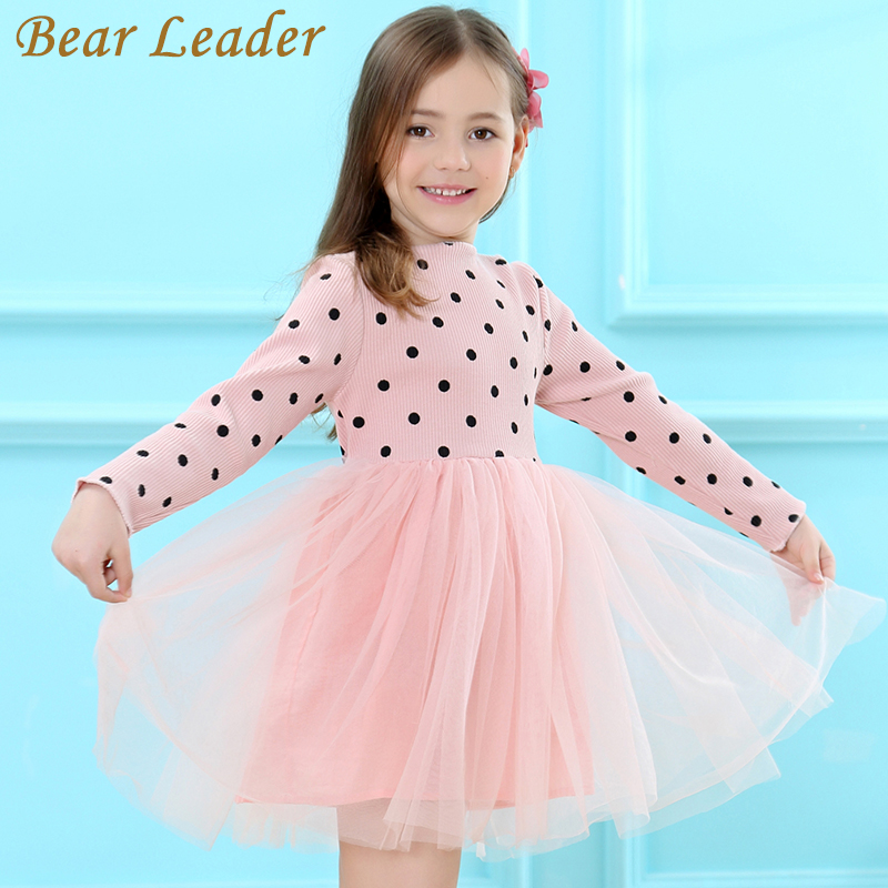 Bear Leader Girls Dress 2017 Brand Princess Dress Long Sleeve Dot Design for Girls Bow Voile Dress Children Clothing 3-7years