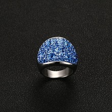 Women's Wide Ring with Crystals