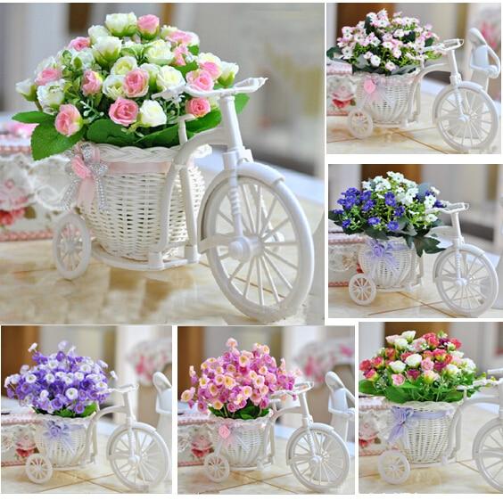 Nueva Llegada Flores Artificiales En Macetas Rosas Serie Florero De - Decoracion-romantica-vintage