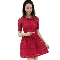 2017 Vintage Lace Hollow Sexy Dresses For Women High Waist Red Bridesmaids Dress Vestidos Slim Elegant