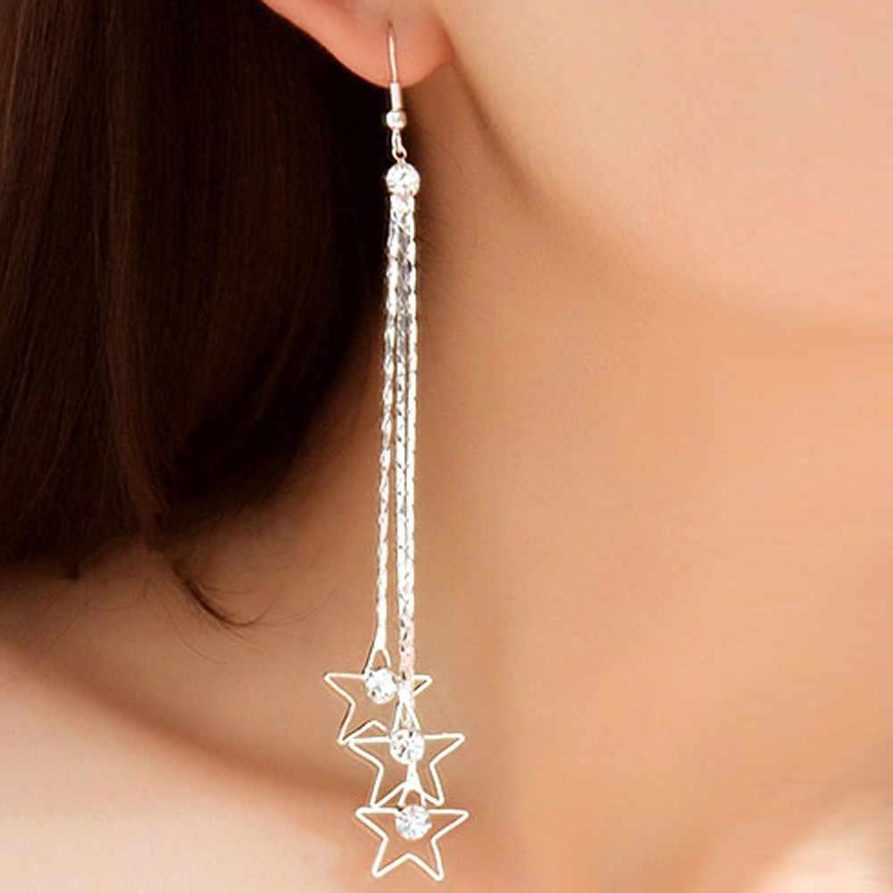 Exquisite Pearl Drop Silver Long Chain Tassel Dangle Earrings Women's Fashion Jewelry Romantic Valentine's Gift Earrings Bijoux