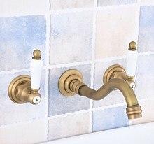 Bathtub Basin Antique Brass Bathroom Sink Mixer Tap Faucet 3 Pcs Faucets Dual Handle Sink Mixer Tap zsf532