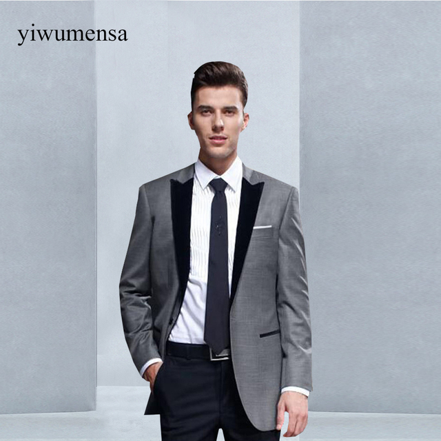 0e9c7baef2f3e Y233 boda trajes para hombres padrinos de boda hombres traje gris con negro  barato formal dos