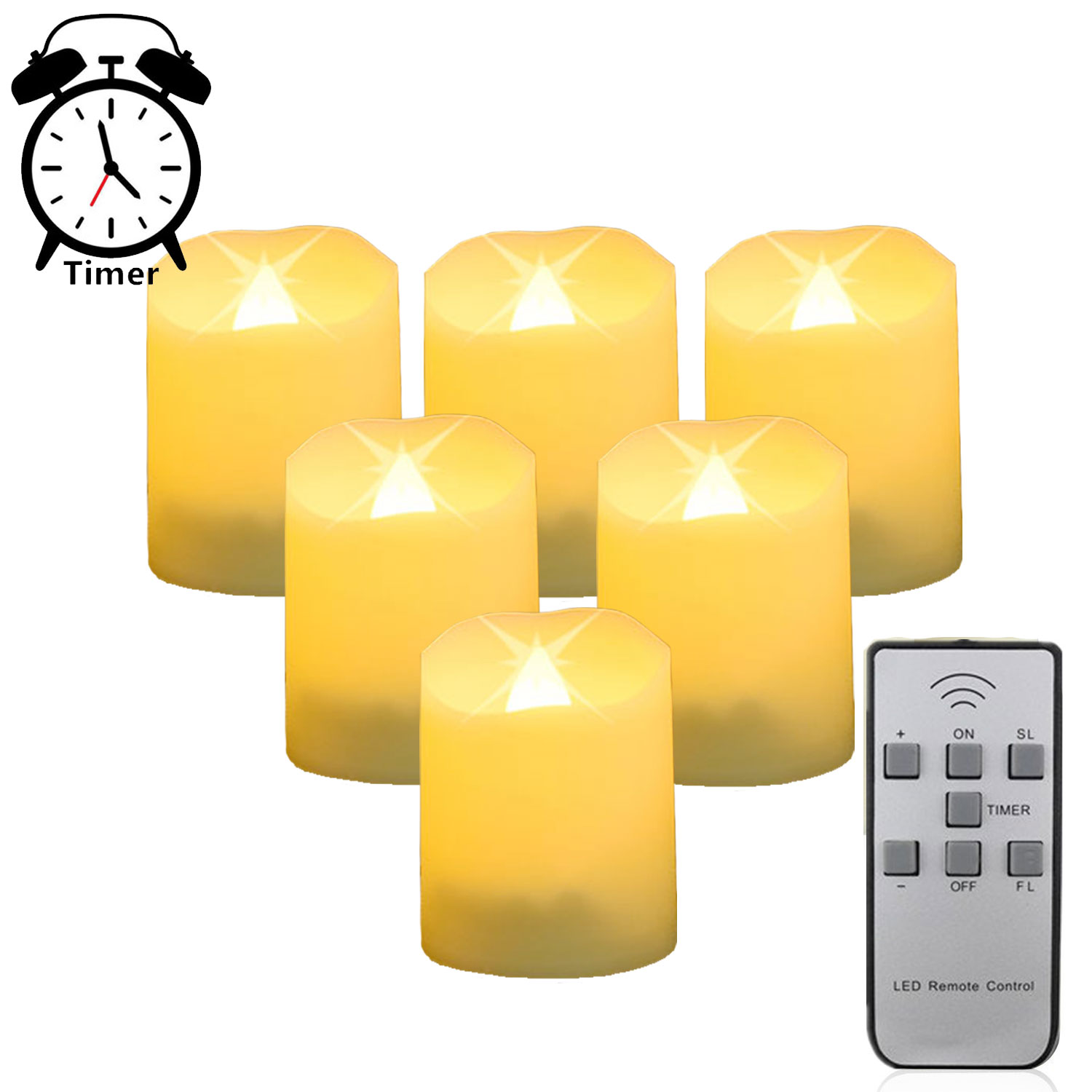Pack Of 6 Remote Control New Year Candles Timer Battery Ed Led Tea Lights Tealights Fake Candle Light Easter