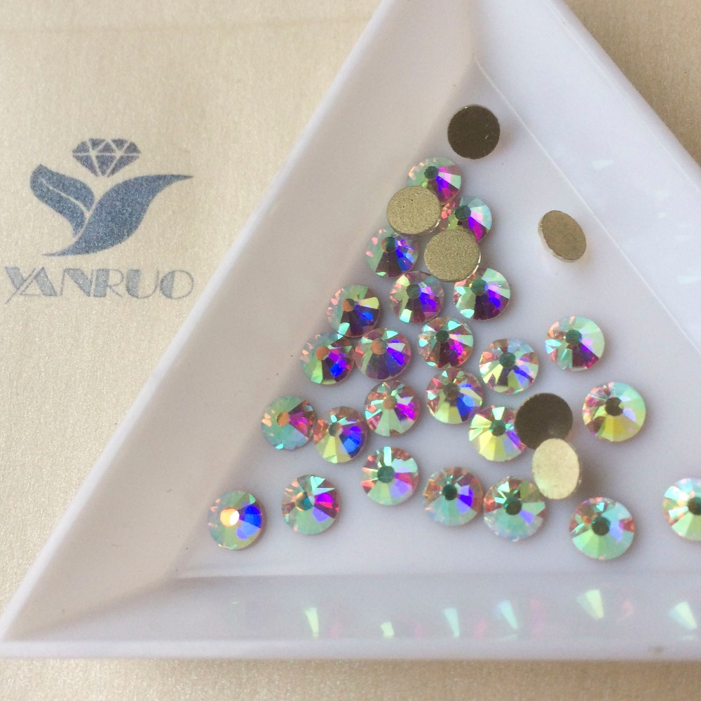 YANRUO 2058NoHF SS20 AB Crystal Strass Nail Art Decorations Non Hotfix Flatback Rhinestones for Dresses Fidget