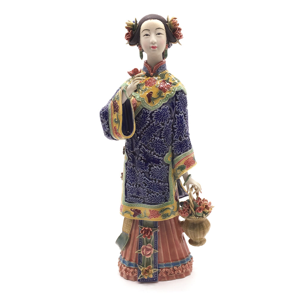 Home Decor Chinese Culture Statue Collections Glazed Porcelain Arts Craft Pottery Figure Figurine for Decoration