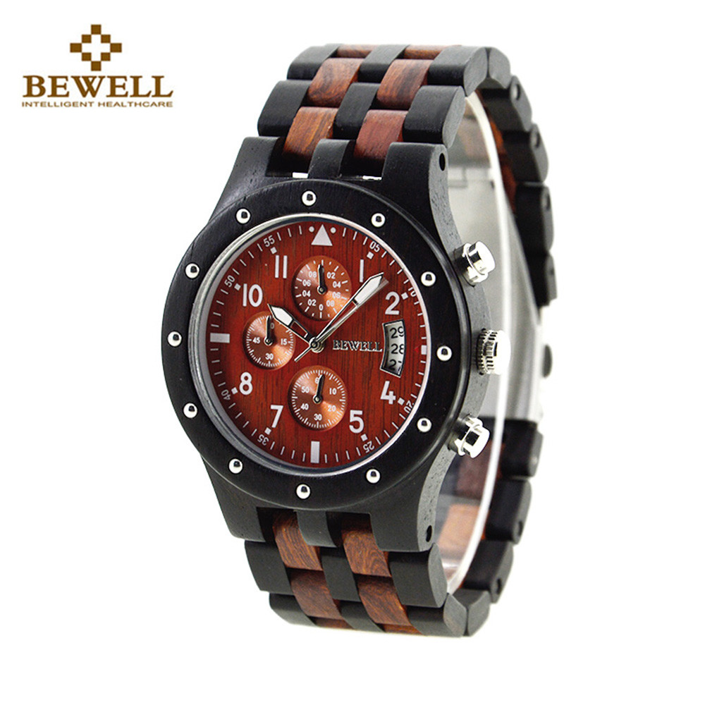 цена на BEWELL Men Wooden Quartz Watch Japan Movt Working Sub-dial Date Display Wristwatch relogio Date Male Clock Hodinky Handmade relo