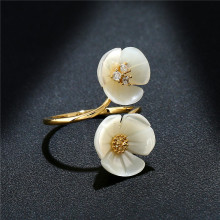 hot deal buy k's gadgets fashion delicate shell flowers rings all-gold color  popular silver color accessories ring women