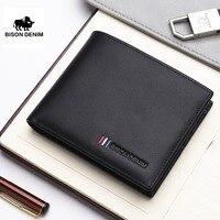BISON DENIM NEW Luxury Brand Leather Wallet Male Fashion Bifold Short Card Wallet Genuine Cowhide Leather