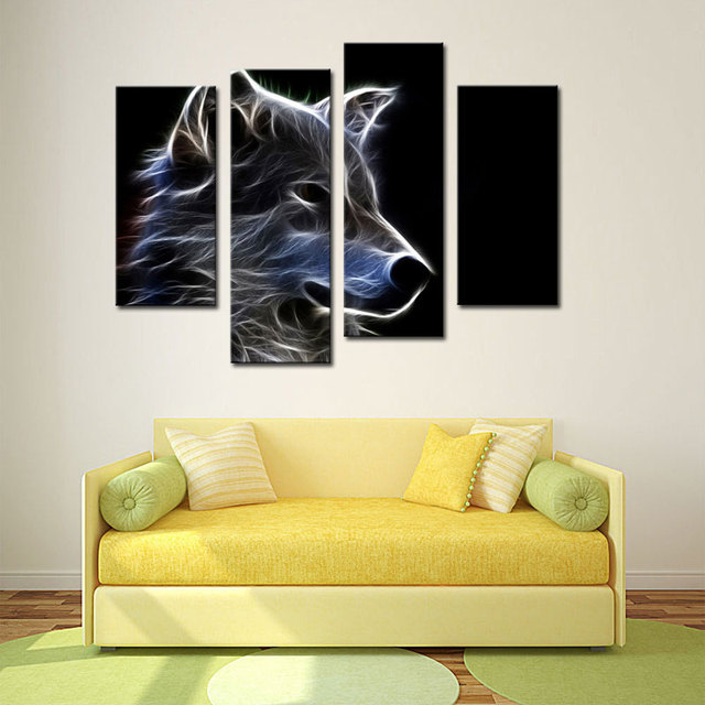 4 Picture Combination Grey Wolf Wall Art Painting Pictures Print On ...