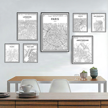 SURE LIFE Minimalist City Contour Maps Travel Pictures Canvas Paintings Black and White Poster Print Wall Art Home Decoration