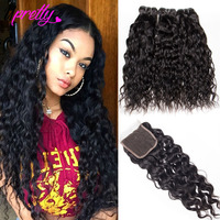 Upretty Hair Water Wave Bundles With Closure Wet And Wavy Human Hair 3 Bundles With Closure