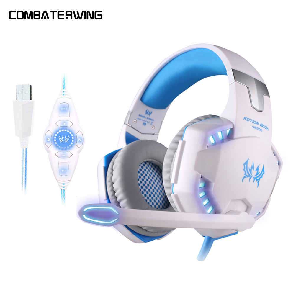 G2200 USB 7.1 Surround Sound Vibration Gaming Headphone basss Headset with Mic LED Light for computer pc laptop kotion each g7000 7 1 usb surround vibration professional gaming headset pc headphone computer headband with mic led for gamer