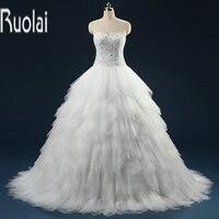 New Arrival Bất Sample Hình Ảnh Custom Thực Hiện Nặng Beading Sweetheart Bóng Gown Tulle Formal Wedding Dresses Ren Lên Trở Lại