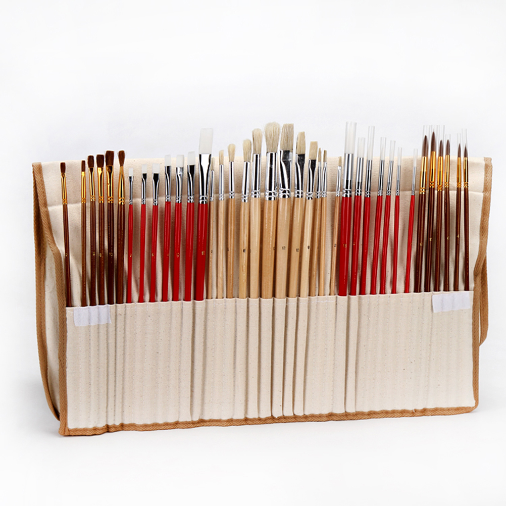 Brush Set with Canvas Holder Synthetic Hair - Set of 38
