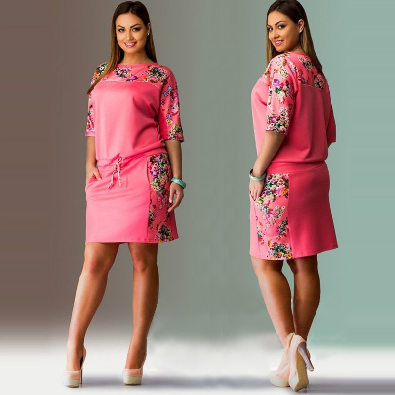 Plus Size Yellow Summer Dress With Floral Print Combination