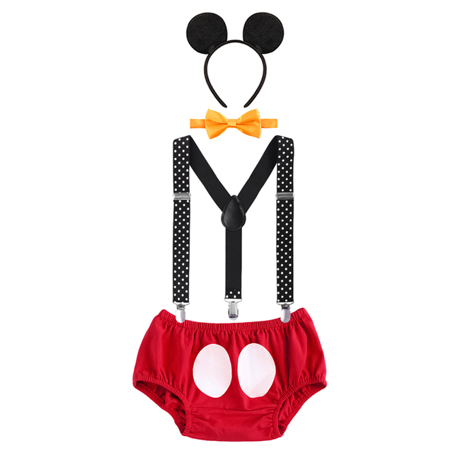 4pcs Set Baby Boys Mickey Mouse 1st Birthday Cake Smash Outfit Shorts Pants Bow Tie Suspenders Headband Photo Props Clothes