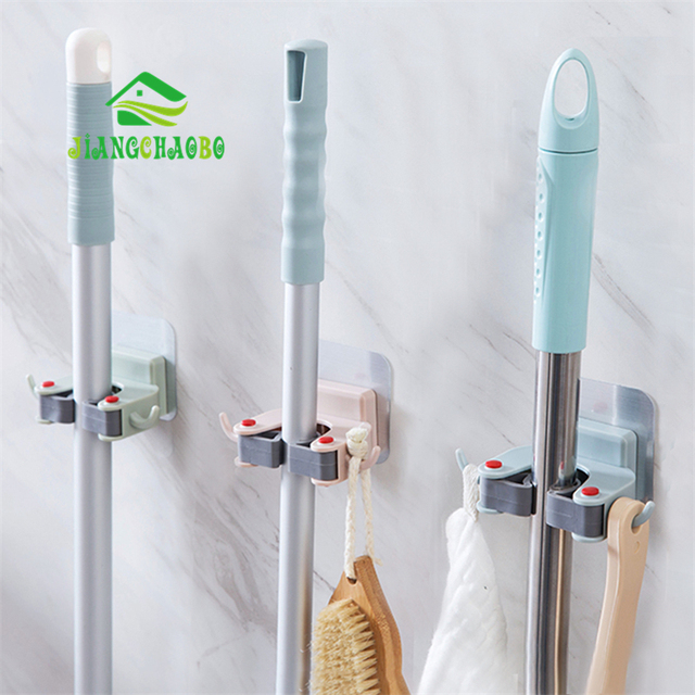 Wall Mounted Mop Holder Brush Broom Hanger Storage Rack Kitchen Organizer Accessory Hanging Cleaning Tools