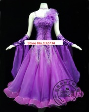 ¡Alta calidad! Rhinethone púrpura vestidos de competición de baile de salón vestidos de salón mujer vals dance dress standard