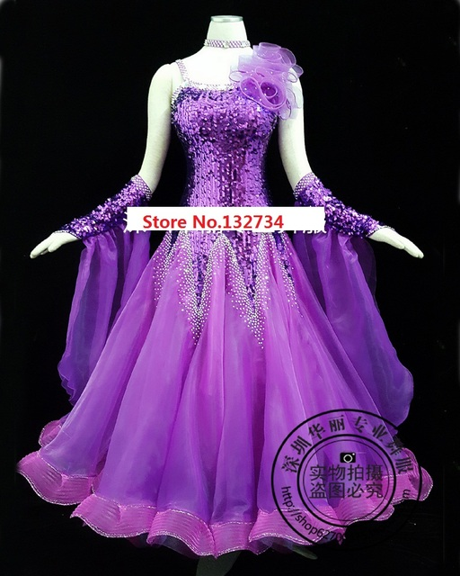 1bef9b71a1 High Quality! rhinethone purple ballroom dance competition dresses ballroom  dresses woman waltz dance dress standard Dress