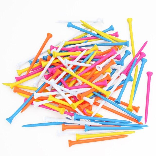 """100 יחידות צבע מעורב פלסטיק נייד קל משקל 100 מ""""מ 5 צבעים שונים סיטונאי טיז גולף עזרי הדרכה"""