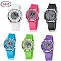 2016 OHSEN бренд цифровой ЖК-дети девушки мода наручные часы милый розовый Каучуковый ремешок 30 М водонепроницаемый Ребенок часы будильник руки часы