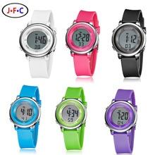 2016 ohsen marca digital lcd reloj lindo de la manera muchachas de los cabritos rosa correa de caucho 30 m niño impermeable de los relojes de alarma de mano relojes