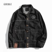 2017 Autumn Winter Denim Jacket Men Bomber Jackets Fashion Print Outwear Male Cowboy Jeans Jacket Men