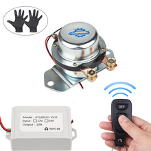 Solenoid 24V 12V Battery Switch Isolator Cut Off Disconnect Wireless Remote Control Auto Battery Master Switches Relay + Gloves kh 12v 24v 200a battery isolator car relays 4 terminal dual battery switch dc relay on off car automotive power control switches