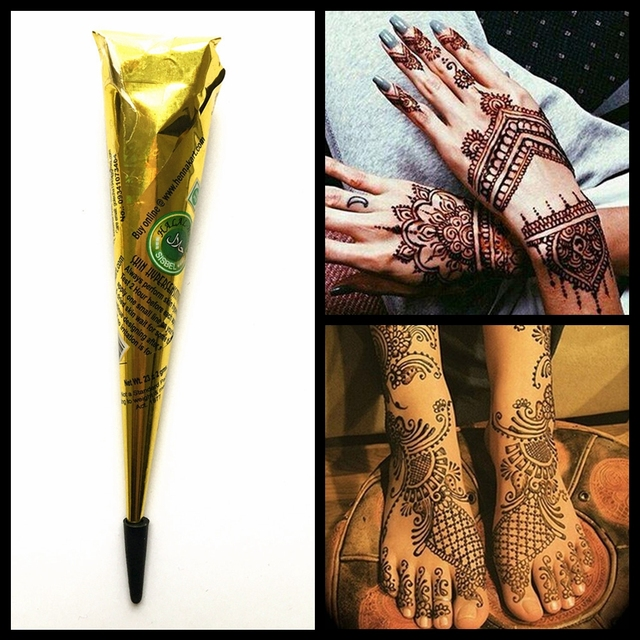 1PC Mehndi Henna Tattoo Paste Natural Herbal Brown Ink Color Henna Cream Cone Sexy Body Art Paint Drawing For Tattoo Stencil