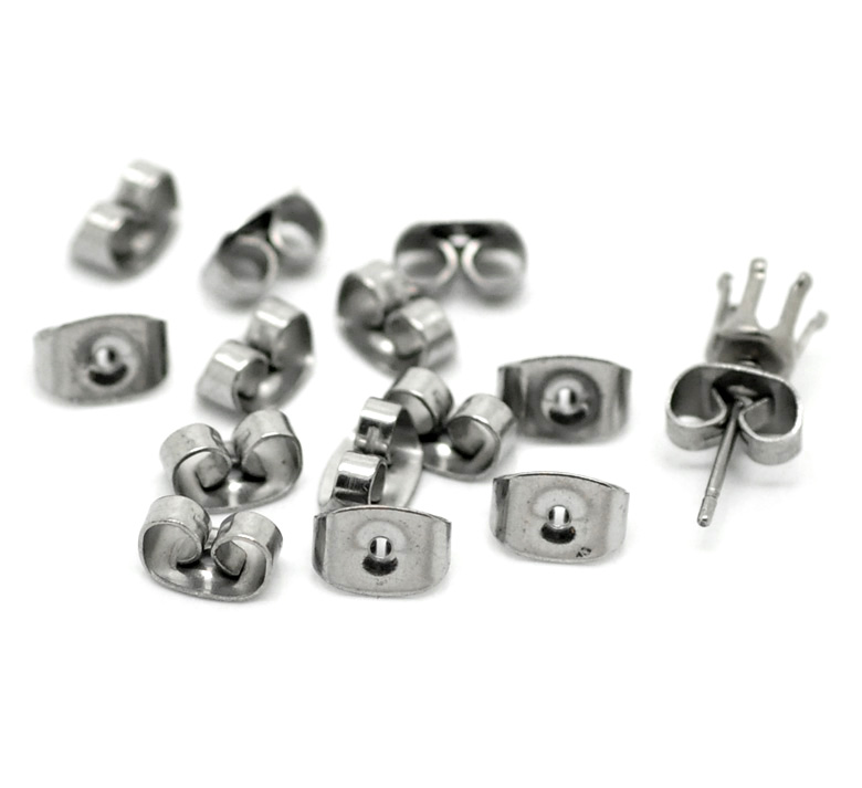 Funique 50pairs Silver Tone Stainless Steel Ear Nut Clutch Earring Stoppers Post Stud Earrings Backs Diy Jewelry Findings 7x4mm In