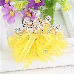 Стиль,, блестящие стразы для девочек, заколка для волос в форме короны с лентой, Детские аксессуары, защитная Милая заколка для волос - Цвет: yellow
